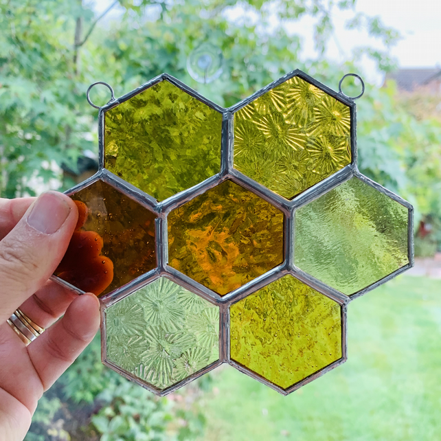 Stained Glass Honeycomb Suncatcher - Handmade Window Decoration - Anber