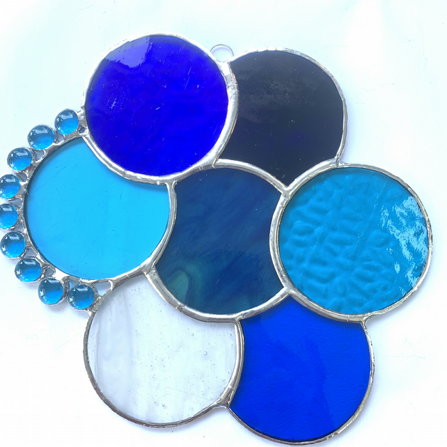 Stained Glass Abstract Suncatcher - Handmade Window Decoration - Blue and Turq