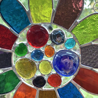 Stained Glass Bead Daisy Suncatcher - Handmade Window Hanging Decoration - Multi
