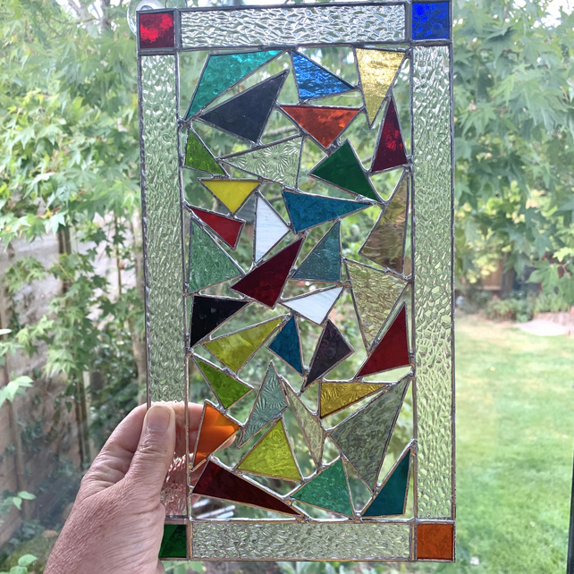 Stained Glass Panel Suncatcher - Handmade Hanging Window Decoration