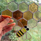 Stained Glass Honeycomb and Bee Suncatcher Large - Handmade Window Decoration