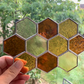 Stained Glass Honeycomb Suncatcher - Handmade Window Decoration - Amber