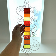 Stained Glass Garden Hanger - Handmade Hanging Decoration  - Red Orange Yellow