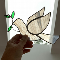 Stained Glass Peace Dove Suncatcher - Handmade Hanging Window Decoration
