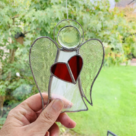 Stained Glass Guardian Angel Suncatcher - Handmade Window Decoration - White