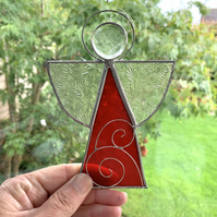 Stained Glass Snow Angel Suncatcher -  Handmade Window Decoration - Red