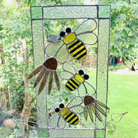 Stained Glass Bee and Flower Suncatcher Panel - Handmade Window Decoration