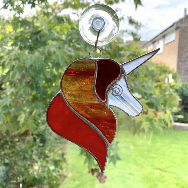 Stained Glass Unicorn Suncatcher - Handmade Decoration - Red