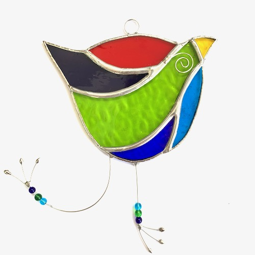 Stained Glass Funky Bird Suncatcher - Handmade Window Decoration - Multi