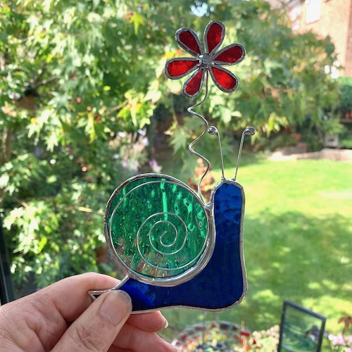 Stained Glass Snail Suncatcher - Handmade Window Decoration - Dark Blue and Teal