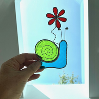 Stained Glass Snail Suncatcher - Handmade Window Decoration - Turquoise and Lime