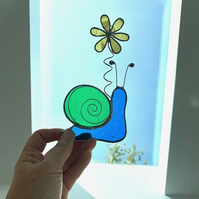 Stained Glass Snail Suncatcher - Handmade Window Decoration - Blue and Green