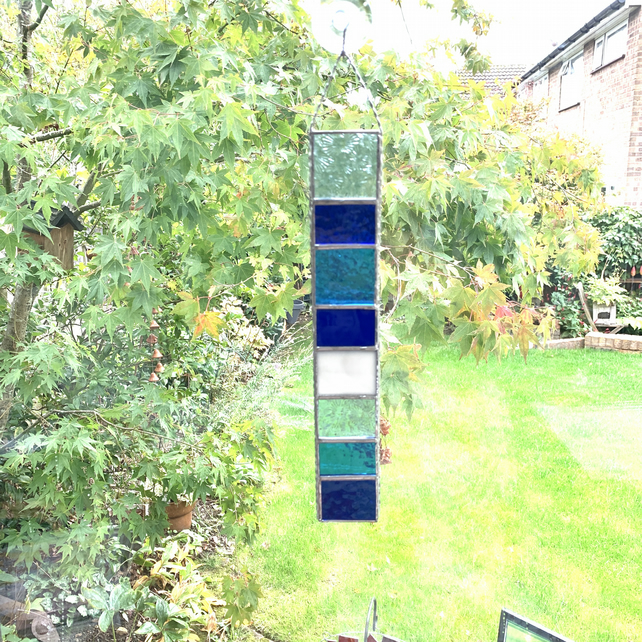 Stained Glass Strip Garden Hanger - Handmade Hanging Decoration - Blue