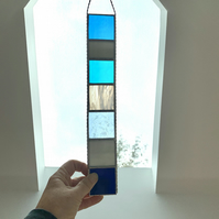 Stained Glass Strip Suncatcher - Handmade Hanging Decoration - Blue Turq White
