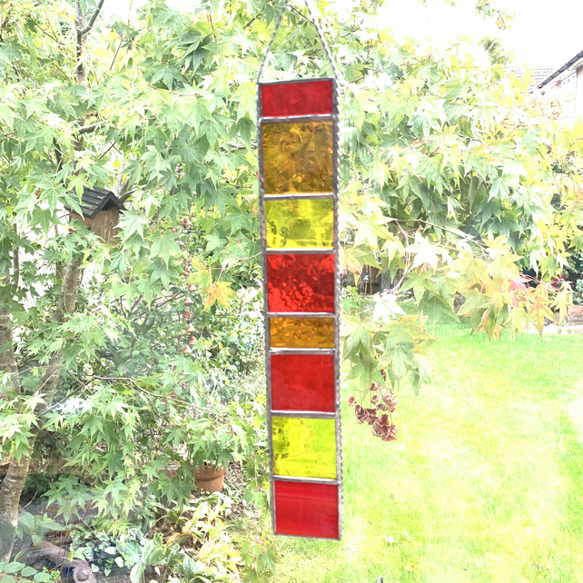 Stained Glass Strip Suncatcher - Handmade Hanging Decoration - Red Orange Yellow