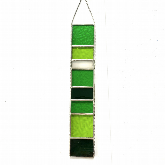 Stained Glass Strip Suncatcher - Handmade Hanging Decoration - Green
