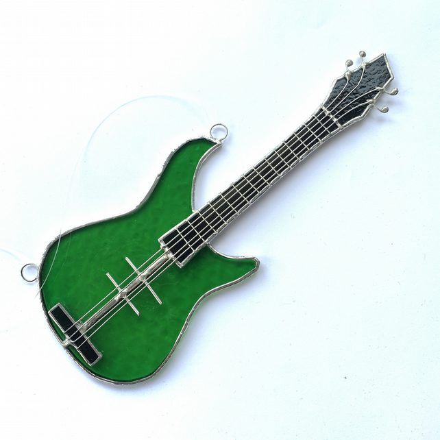 Stained Glass Bass Guitar Suncatcher - Handmade Hanging Decoration - Green