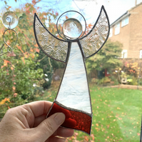 Stained Glass Large Angel Suncatcher -  Handmade Decoration - Red and White