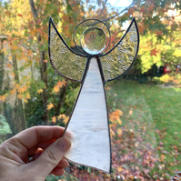 Stained Glass Large Angel Suncatcher - Handmade Decoration - White