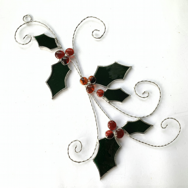 Stained Glass Holly Sprig Suncatcher - Handmade Window Decoration