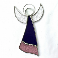 Stained Glass Large Angel Suncatcher -  Handmade Decoration - Purple and Pink