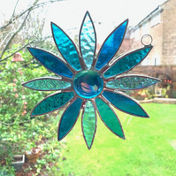 Stained Glass Daisy Suncatcher Handmade Hanging Decoration - Turquoise