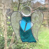Stained Glass Guardian Angel Suncatcher -  Handmade Window Decoration - Turquois