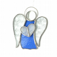Stained Glass Guardian Angel Suncatcher -  Handmade Window Decoration - Blue