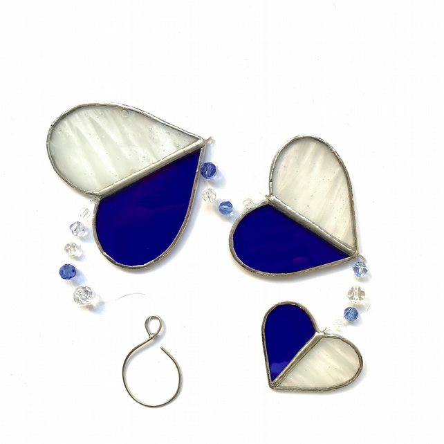 Stained Glass Hearts Suncatcher - Handmade Hanging Decoration - Blue and White