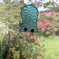 Stained Glass Octopus Suncatcher - Handmade Window Decoration - Teal