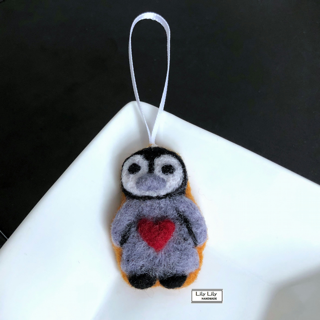 Penguin iced biscuit decoration, needle felted by Lily Lily Handmade