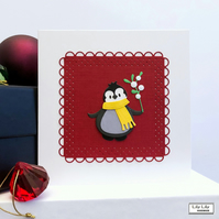 Festive Penguin and Mistletoe Christmas Card by Lily Lily Handmade