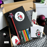 Penguin stationery bundle (red), boxed handmade gift set by Lily Lily Handmade