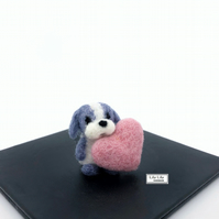 Miniature Puppy dog and a little pink heart, needle felted by Lily Lily Handmade
