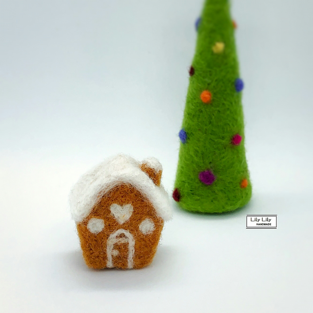 SOLD Mini Gingerbread House decoration, needle felted by Lily Lily Handmade