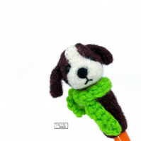 Brown dog pencil topper, needle felted by Lily Lily Handmade