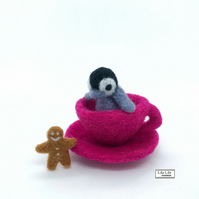 Penguin and gingerbread man in a teacup, needle felted by Lily Lily Handmade