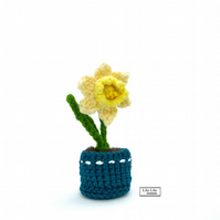 Everlasting potted yellow daffodil flower, crocheted by Lily Lily Handmade