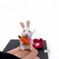 Miniature rabbit with a carrot, needle felted by Lily Lily Handmade