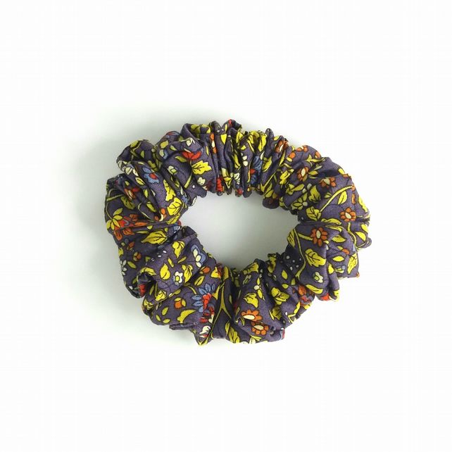 Purple cotton floral scrunchie
