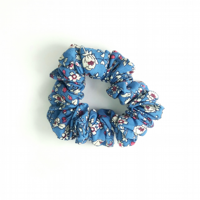 Blue floral cotton lawn scrunchie