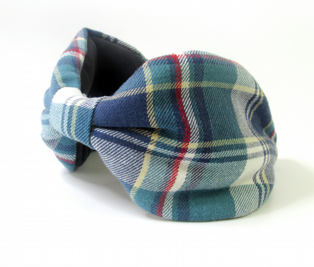 Check Flannel Headband in Blues and Red
