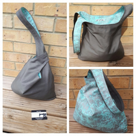 Japanese knot bag,  medium,  shoulder bag,  hand bag, grey  spearmint sparkle