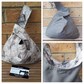 Japanese knot bag,  small, reversible in grey denim and madam print fabric