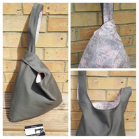 Japanese knot bag,  medium,  shoulder bag, handbag, grey denim and pink sparkle.
