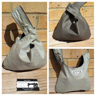 Japanese knot bag, small,  evening bag, handbag,  grey denim, gold dot.