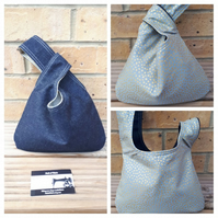 Japanese knot bag, small,  reversible in denim and gold dot fabric.