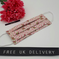 Face mask,  large, 3 layer,  machine washable in pink and white flower cotton