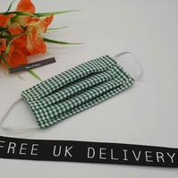 Face mask, small, 3 layer,  machine washable in green gingham fabric.