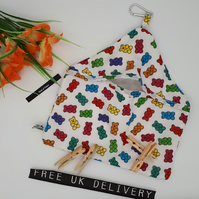 Peg bag in gummy bears fabric and white lining.